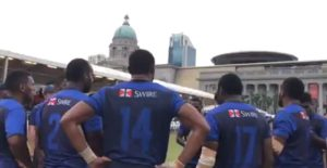 Seeing backs of Daveta 7s rugby team