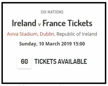 Ireland Six Nations tickets poster